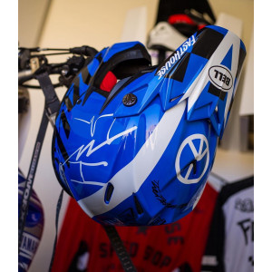 Casque BELL Moto-9 Flex Fasthouse DID 20 Gloss Blue/White 2020